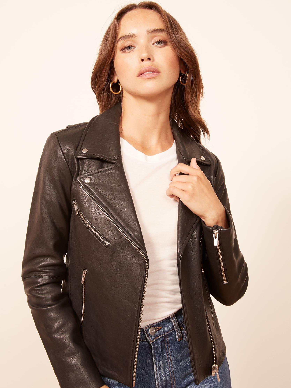 리포메이션 Reformation Veda Bad Leather Jacket,Black