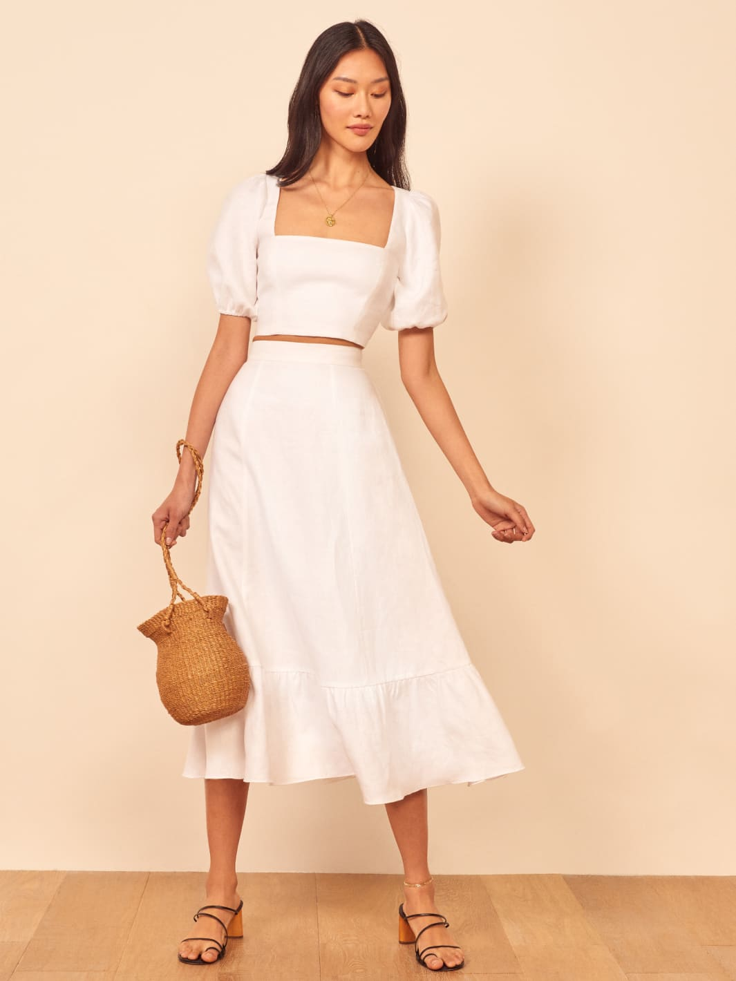 White Yucca Linen Two Piece