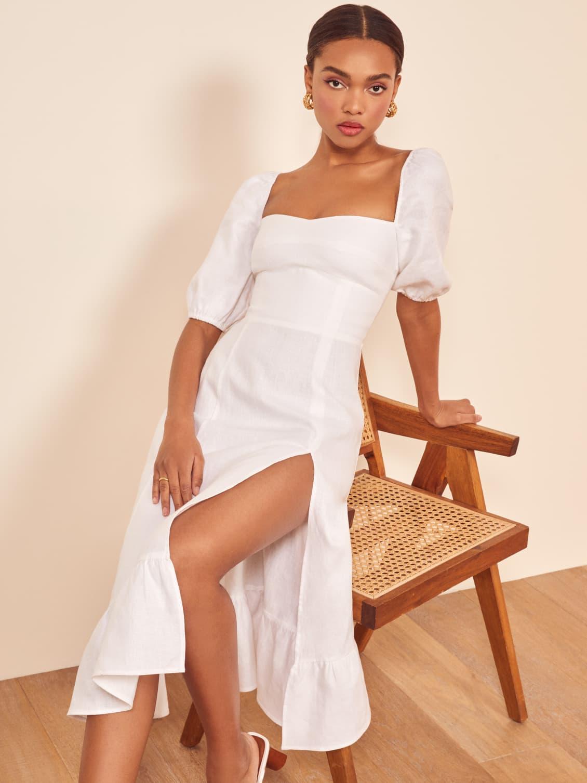 White Belgium Linen Dress