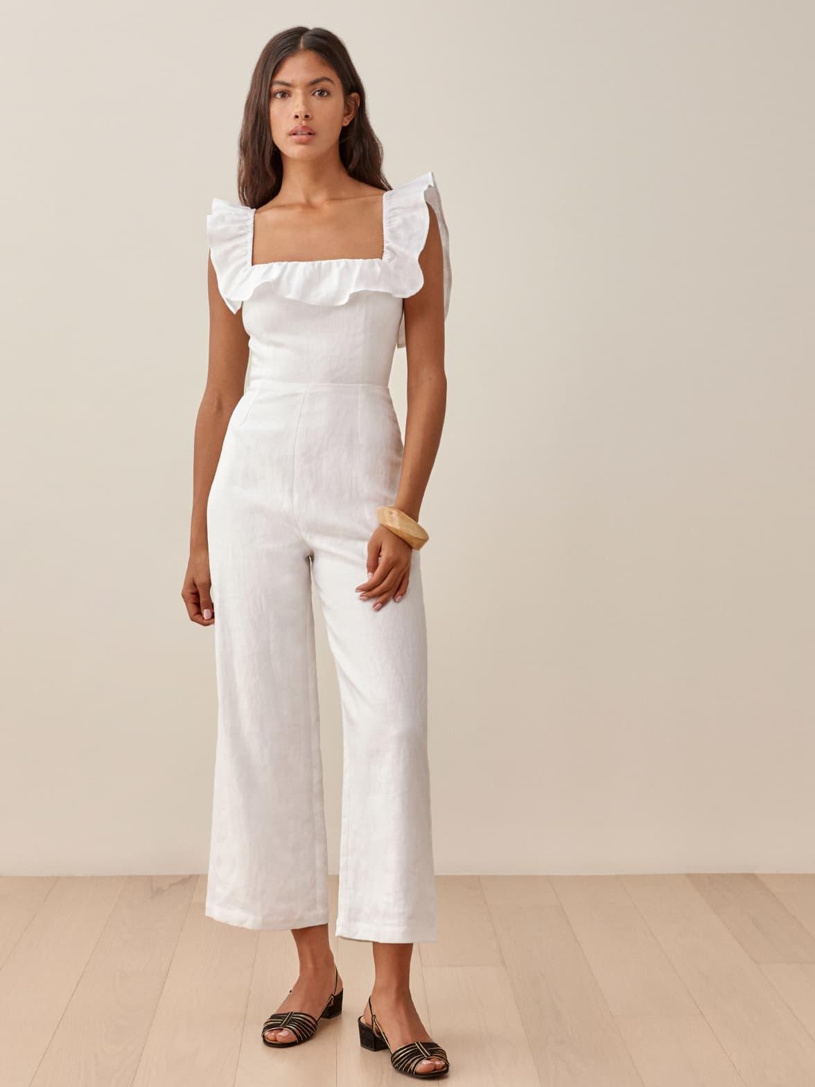 White Juniper Linen Jumpsuit