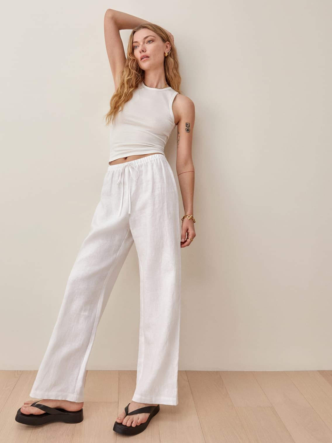 White Olina Linen Pant