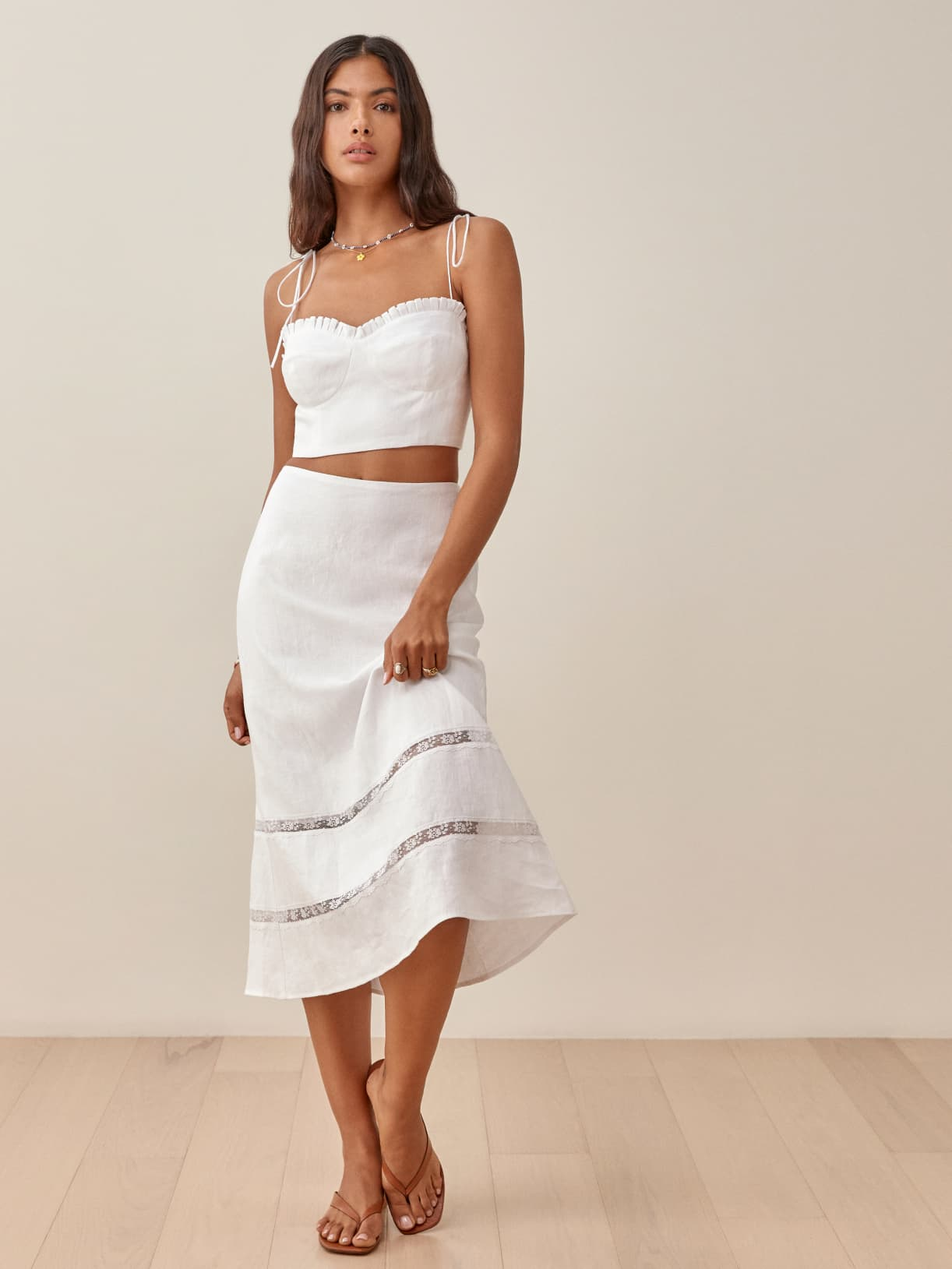 White Rima Linen Two Piece
