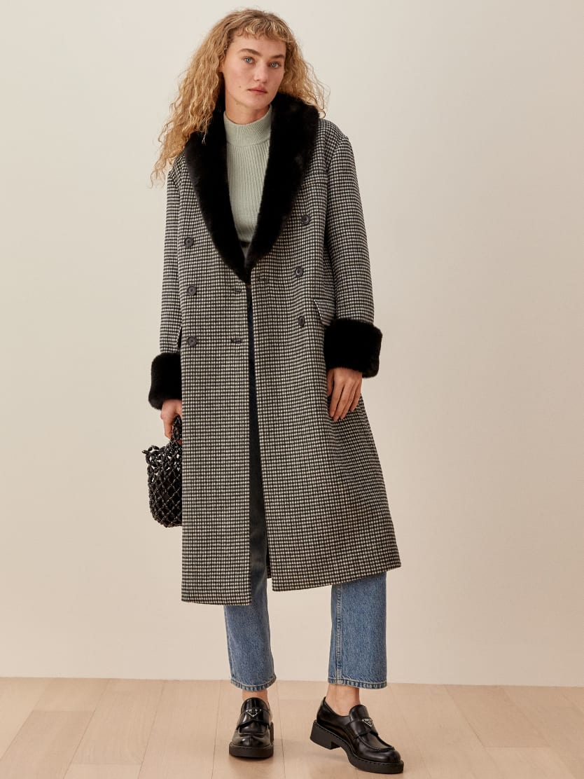 리포메이션 Reformation Lester Coat,Black Check