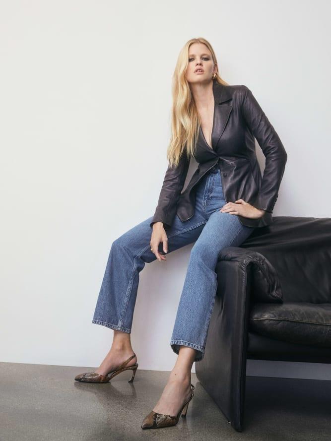 리포메이션 Reformation Veda Bowery Leather Blazer,Black